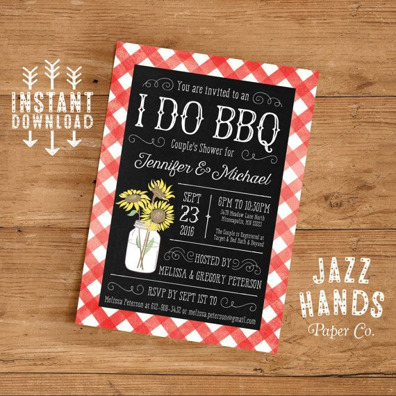 I Do BBQ Couples Shower Invitation Template by JazzHandsPaperCo