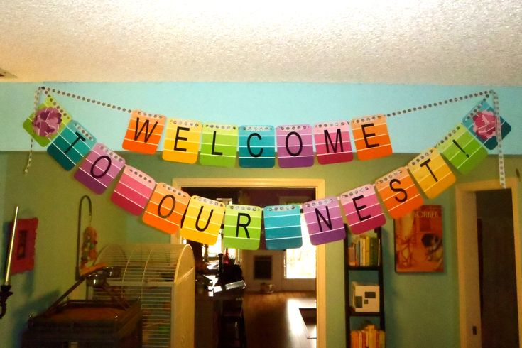 Housewarming Party- banner decor paint samples