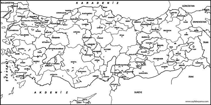 Türkiye Iller Harita Boyama Sayfası Türkiye Iller Harita Boyama