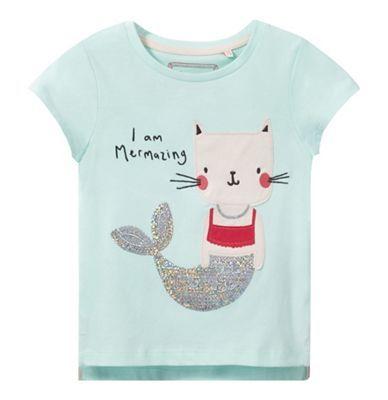 bluezoo Girls' aqua applique t-shirt | Debenhams
