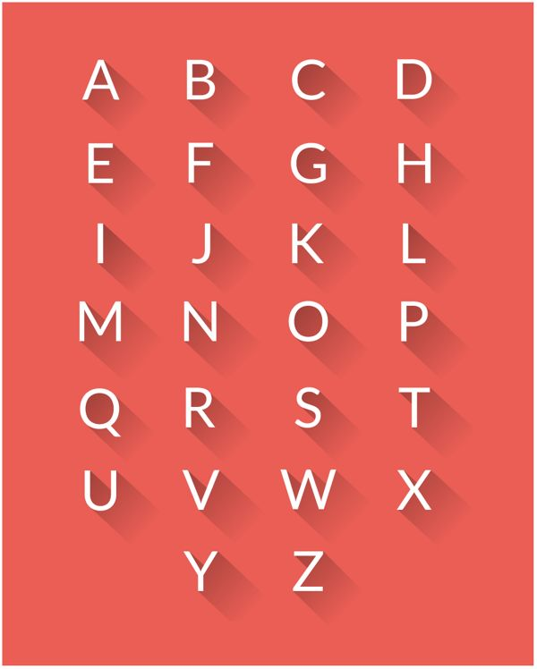Alphabets with long shadow PSD by Pritesh Parshekar, via Behance