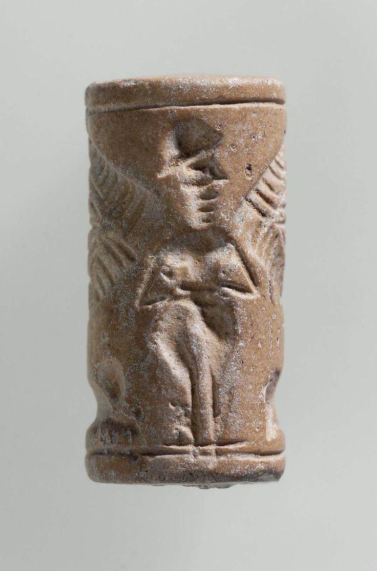 Cylinder seal Near Eastern Mesopotamian Mitannian 1500u20131350