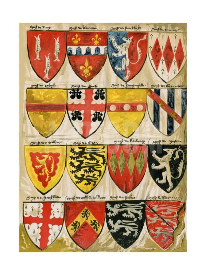 Shields of English Knights and Barons, Painted During the Reign of Edward Iii Gicléedruk at Art.co.uk