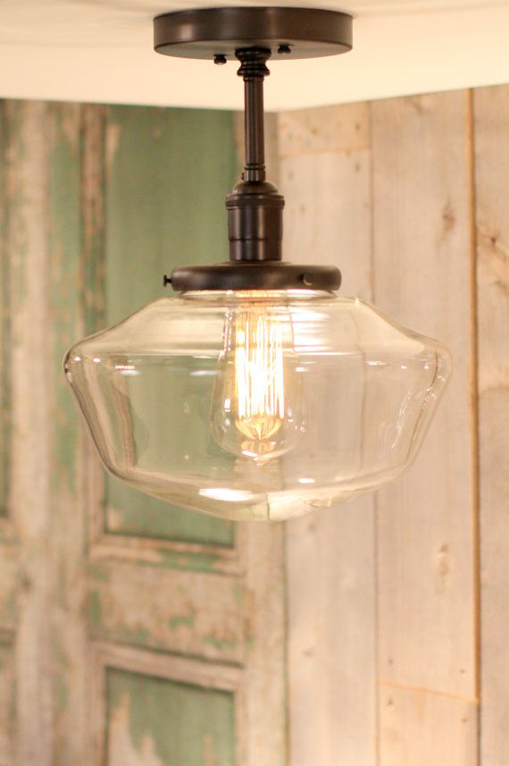 "Downrod Pendant Lighting with 10"" Clear Schoolhouse Style Glass Shade @Kat Ellis Lowenstein"