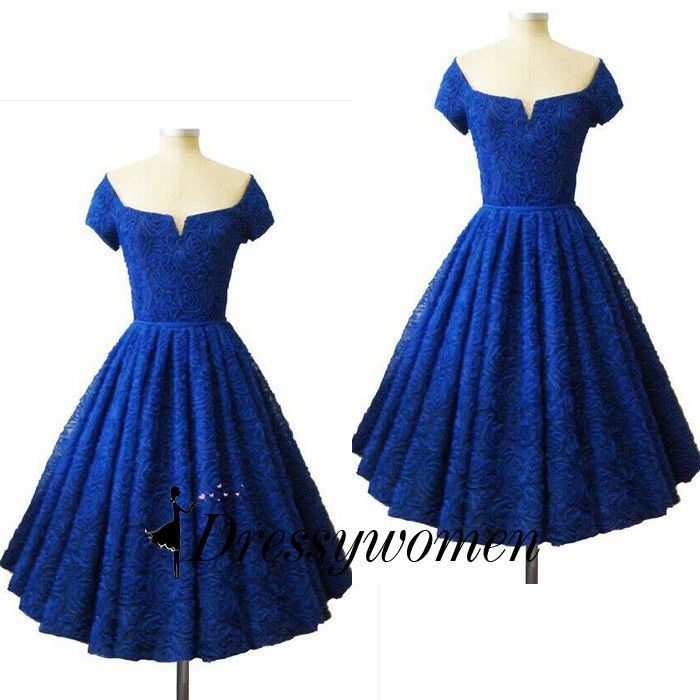 Vintage Knee Length Bridesmaid Dress/Prom Dress - Royal Blue Lace with Short Sleeves