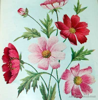 Silk shading on embroidered cosmos - beautiful. From Society Silk Embroidery Catalog and Instructions