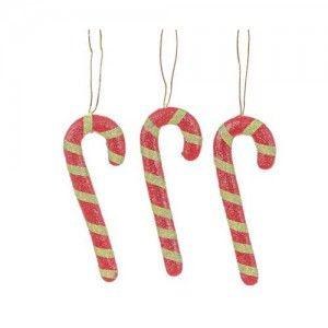 Μπαστουνάκια χριστουγεννιάτικα ζαχαρωτά set/3 σε κόκκινο πράσινο χρώμα