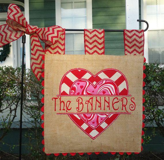 Double Sided Burlap Garden Flag Valentines by sewgoddesscreations, $35.00