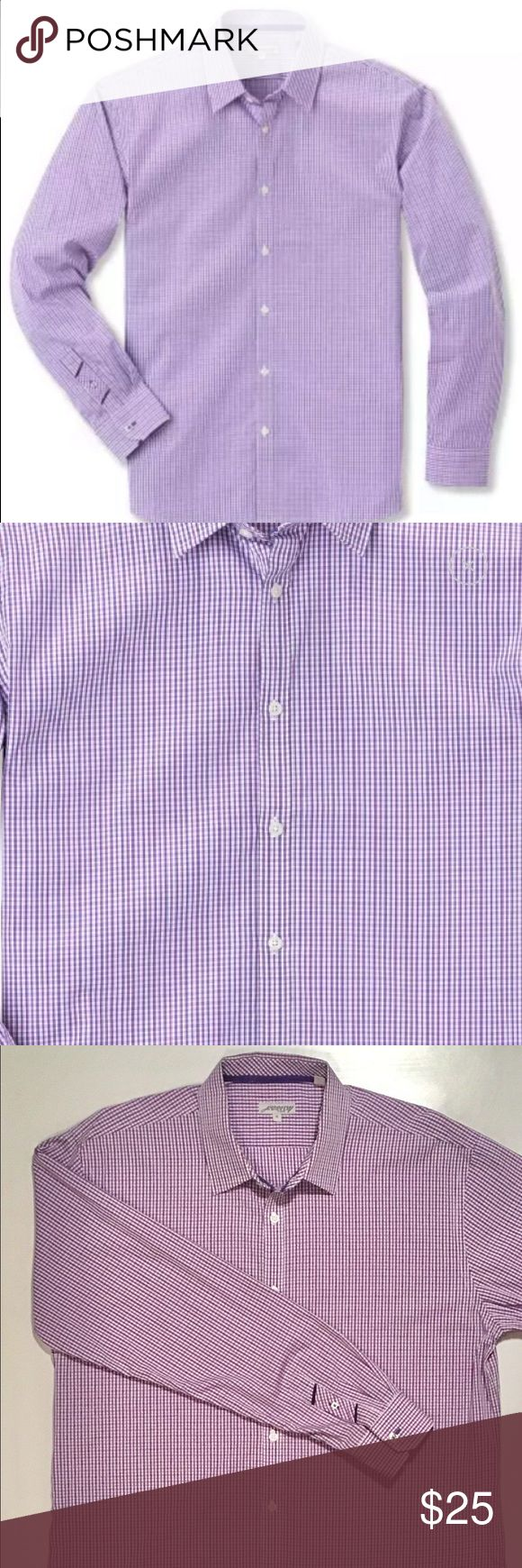 L/S Comfort Dress Shirt By Jeremy Argyle Purchased through trunk club. I've worn this shirt a maximum of 5 times. I have lost weight so the shirt is simply too big on me but it is in great condition. The first 2 pictures are off of the trunk club website and are representative of the color which is 534 purple gingham. The 3rd picture is the actual shirt in my possession. jeremy argyle Shirts Casual Button Down Shirts