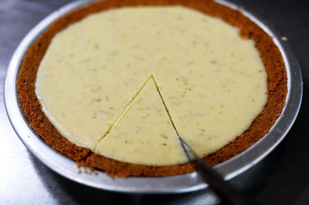 This key lime pie is excellent. Made it twice with key limes, because our stores had them, and it's so easy (other than juicing the tiny suckers). I used store bought crust though. Don't tell.