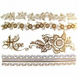 Acheter tatouage or et argenté, tatouage doré femme, tatouage bijoux - tempo-tattoo