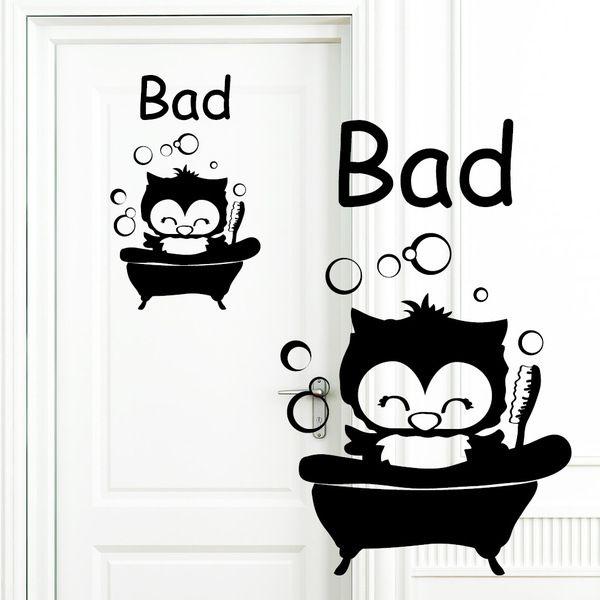 Wandtattoo WC Bad Türaufkleber Eulen Badezimmer