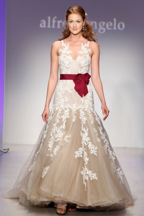 alfred angelo wedding dress. except maybe make the bottom the same white color as the top.