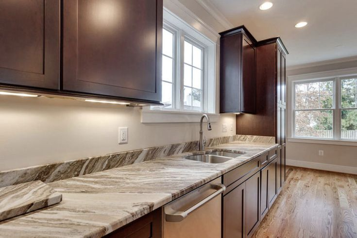 brown fantasy granite countertops shaker brown cabinets in ... on Black Granite Countertops With Brown Cabinets  id=80964