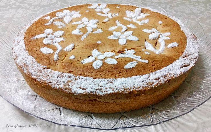 Torta soffice alla marmellata senza glutine e lattosio preparata con solo farina di riso e marmellata di prugne fatta in casa.