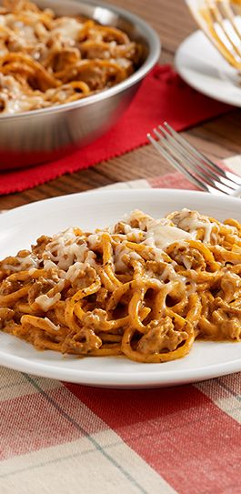 A Pot-Sized Pasta recipe with Italian sausage, seasoned tomato sauce and cream cheese cooked with spaghetti for a one pan main dish