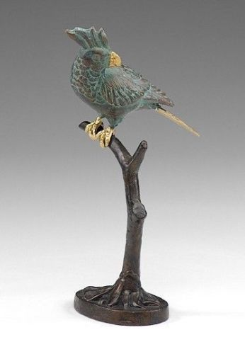 Awesome Tropical Iron/Brass Bird on Branch Figurine Statue,11''H. #Unbranded