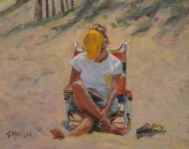 With a Book on the Beach by Stan Moeller, 9x12 oil