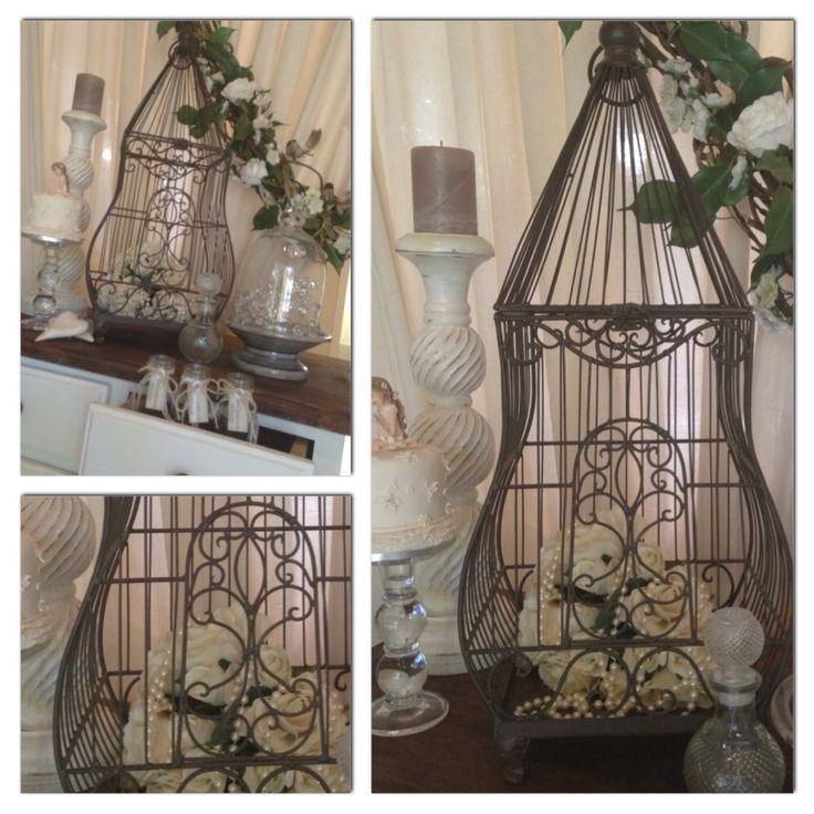 Rustic metal large birdcage for hire. www.costweddingcreations