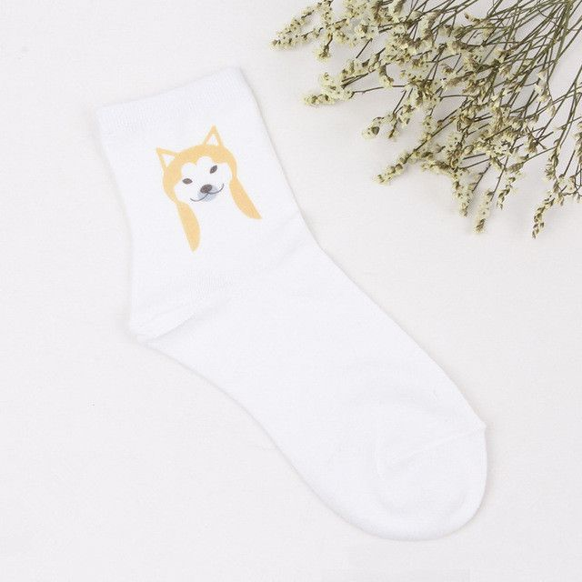 Foot 22-25cm Cotton Socks Short Basset Hound Bulldog Spotted Dog Shiba Inu Small Doggy Pup Smile Dalmatian Beagle Pet Cute Puppy