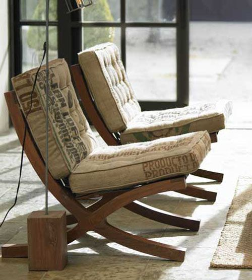 Reinterpreting the classics! love this take on the classic Mies Van Der Rohe Barcelona chair- but instead of chrome and leather, it's wood and jute coffee sacks!