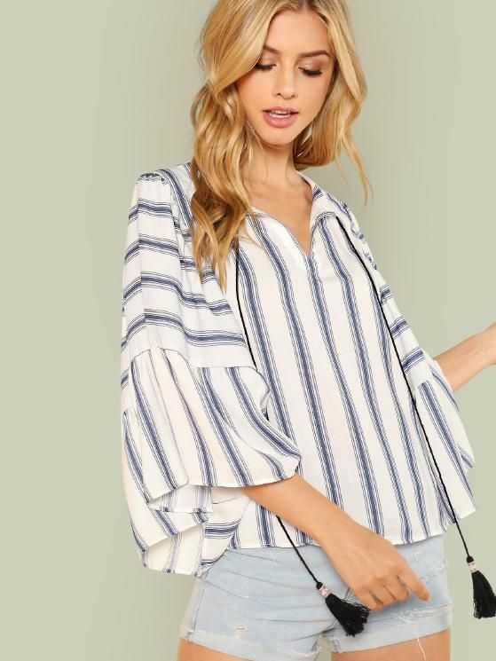 3cc81554cd224 Exaggerated Bell Sleeve Striped Blouse