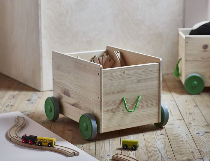 Toy storage with wheels | ☞ See all the new pieces at http://petitandsmall.com/ikea-new-collection-for-kids-flisat/