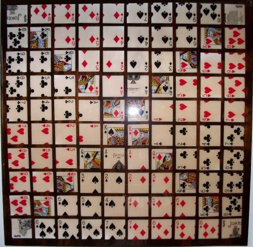 I plan to make this game, One-Eyed Jack or Sequence.  I remember my mom and her friends playing it.