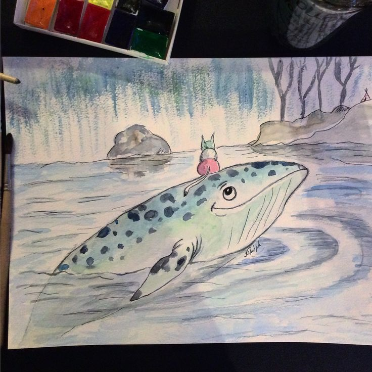An illustration from book Whale swims to the North by A. Strokina  Watercolor