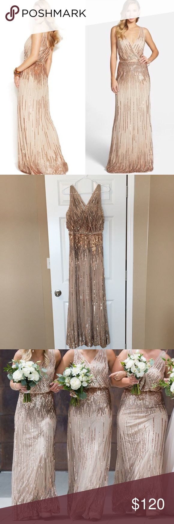 Adrianna Papell gold sequin bridesmaid dress Worn once! V-neck and v-back neckline. Beautiful, shimmering sequence dress. Zip-back closure, fully lined. Adrianna Papell Dresses Maxi