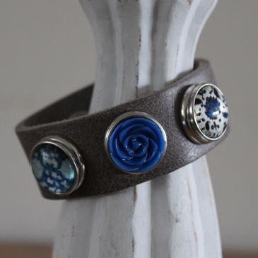 Armband bruin/grijs maat S, compleet