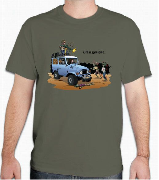Zombie Shirt: Toyota FJ40 with Joe and Jane fighting Zombies