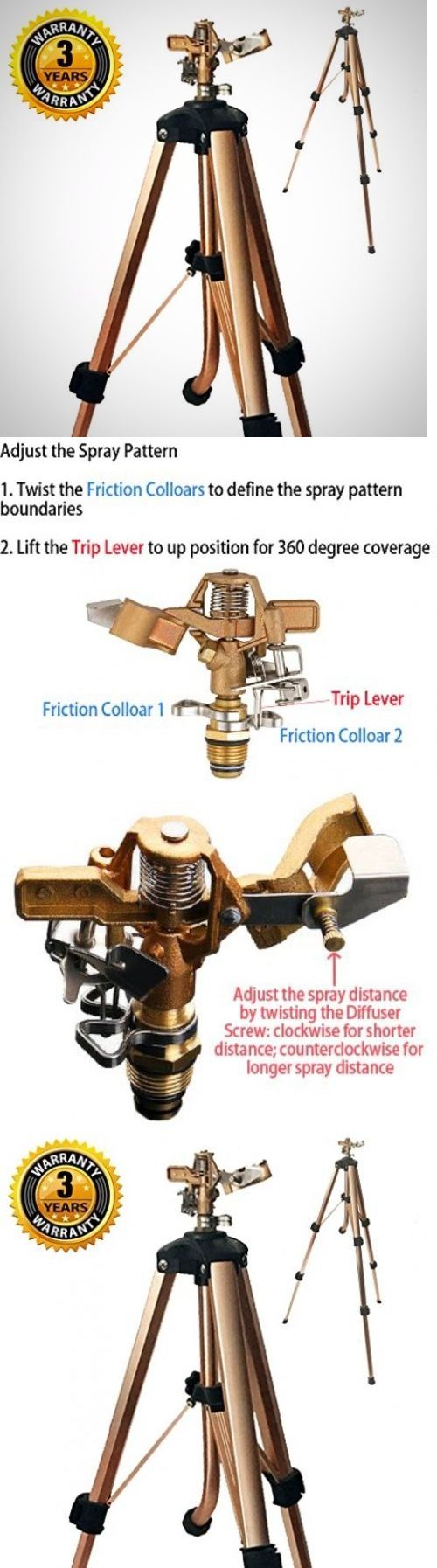 Lawn Sprinklers 20542: Brass Impact Tripod Sprinkler With Heavy Duty Brass Impact Sprinkler (25-48 ... -> BUY IT NOW ONLY: $38.01 on eBay!