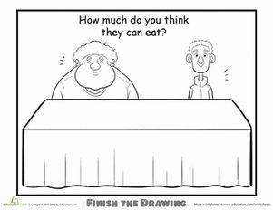 Second Grade People Worksheets: Finish the Drawing: How Much Do You Think They Can Eat?