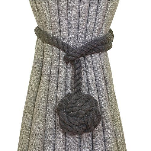 2 Pieces Fine Hand Tied Curtain Clip, Buckle Holdback Fabric Drapery Tassels Curtain Tiebacks / Tassel Window Cotton Rope Tie Ball Back Accessories (Dark Grey)