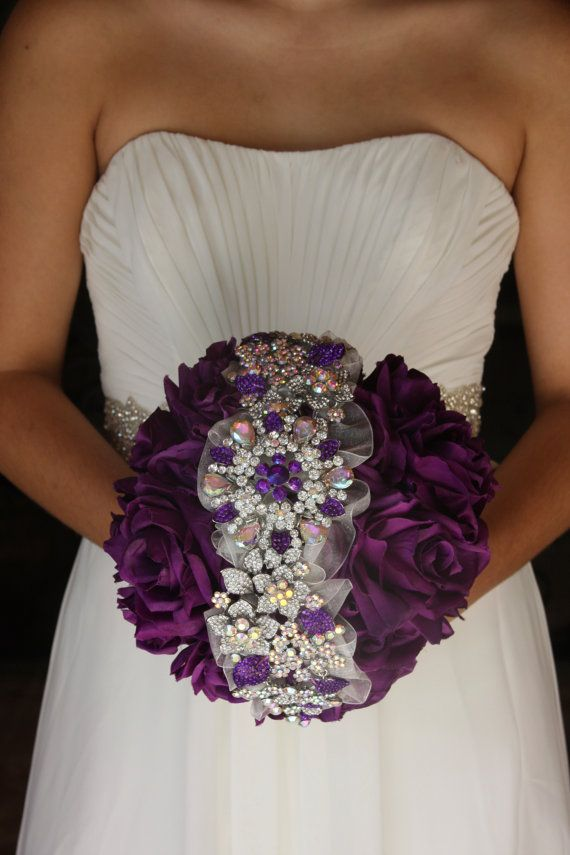 purple brooch bouquet purple wedding bouquet by TheCrystalFlower, $475.00