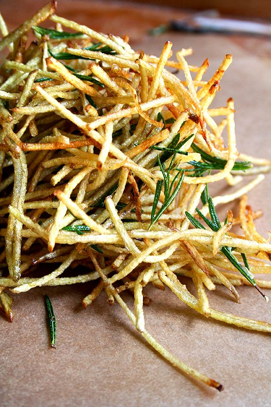 "Although my use of flavored salt extends to this single recipe — ""straw potatoes"" seasoned with lemon salt (thanks to April Bloomfield) and fried with rosemary (thanks to Jamie Oliver) — the possibilities are endless. Salt might just become lemon salt from here on out."