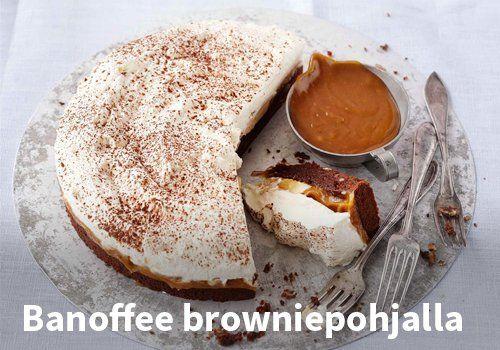 Banoffee browniepohjalla, Resepti: Valio #kauppahalli24 #pääsiäinen #ruoka #resepti #banoffee