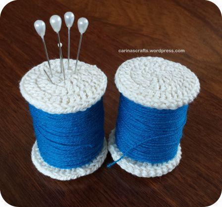 spools pin cushion, crochet, free pattern, haken, gratis patroon, speldenkussen