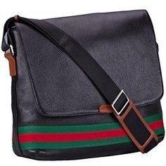 Replica Gucci Web Black Leather Medium Messenger Bag | sacoche gucci