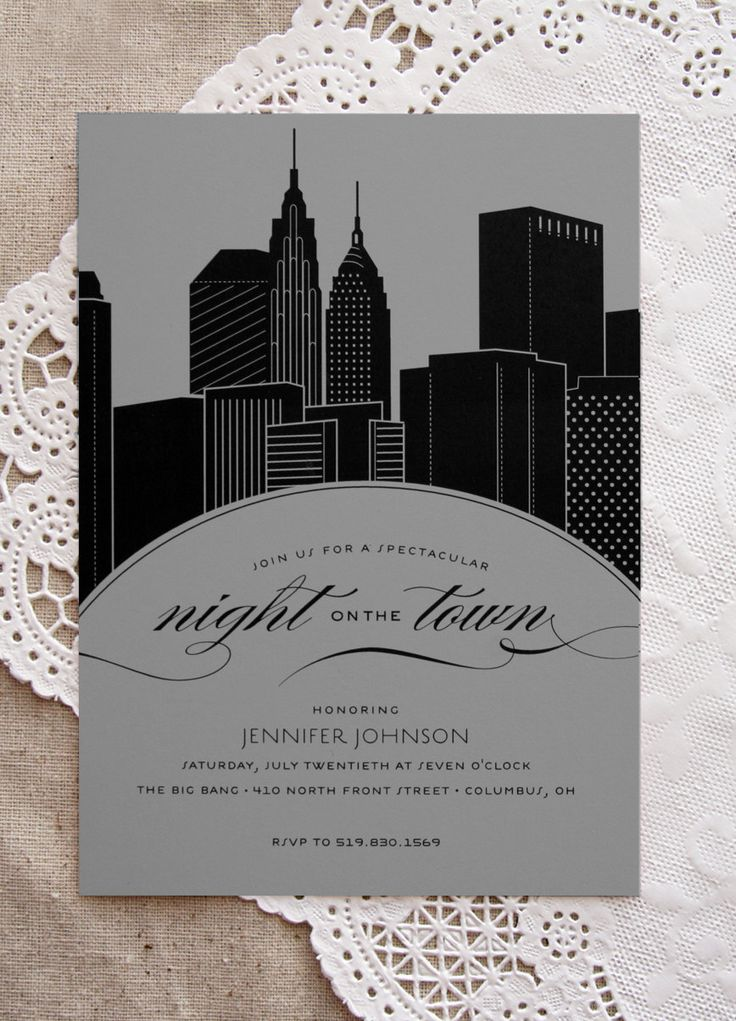 New York City Skyline Night on the Town Bachelorette Party Invitation. $1.75, via Etsy.
