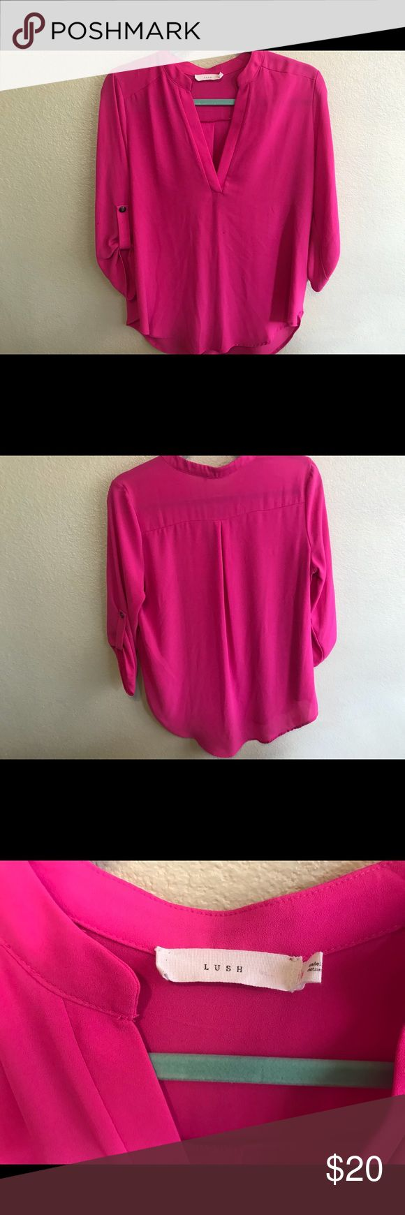 Hot pink Blouse by Lush medium Lush hot pink blouse size medium. Gently used in good condition no stain or tears. Bought at Nordstrom's Lush Tops Blouses