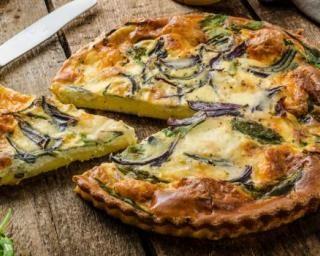 Quiche de polenta sans gluten aux épinards, oignon rouge et roquette : http://www.fourchette-et-bikini.fr/recettes/recettes-minceur/quiche-de-polenta-sans-gluten-aux-epinards-oignon-rouge-et-roquette.html