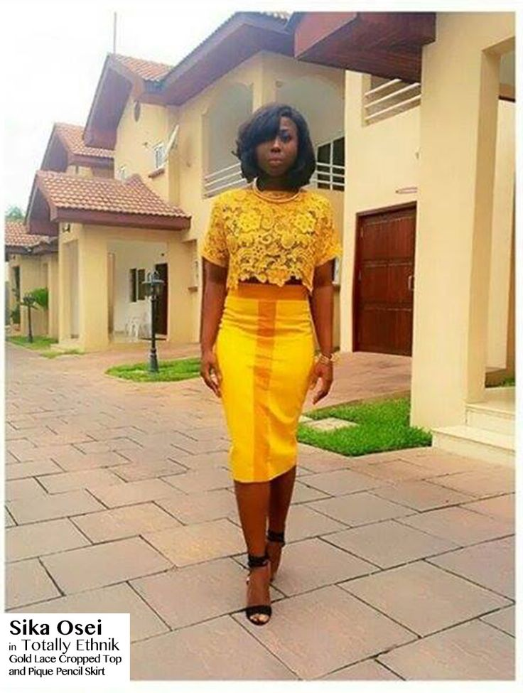 Sika Osei, Ghanaian TV Host for 53 Extra, wearing a Totally Ethnik Ensemble: Gold Lace Cropped Top, with a Suede and Pique Mustard Pencil Skirt