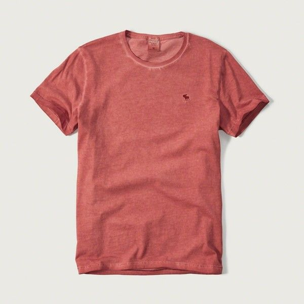Abercrombie & Fitch Iconic Garment-dyed Tee ($15) ❤ liked on Polyvore featuring men's fashion, men's clothing, men's shirts, men's t-shirts, red, mens cotton t shirts, mens cotton shirts, mens red t shirt and mens red shirt