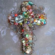 Glass bead and wire cross