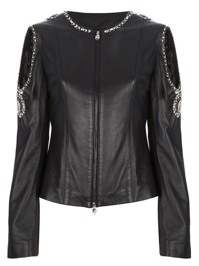 Philipp Plein Embellished Leather Jacket