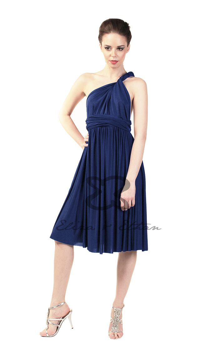 Eliza and Ethan - Multiway - Infinity - Bridesmaids Dresses - OneSize - Short MultiWrap Dress Color: Midnight