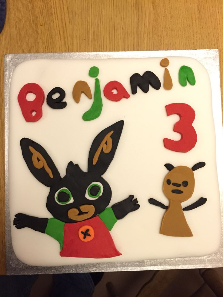 CBeebies Bing Bunny cake for our son's 3rd birthday. My husband has new-found sugar crafting skills!!!!