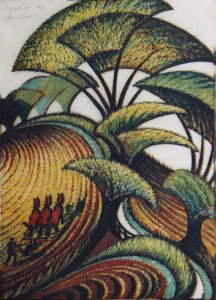 Fall of a Leaf, Sybil Andrews (1934) I really like her works and I had not seen this one. Love the colour palette. S